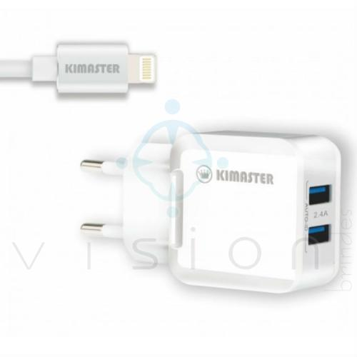 Kit Carregador com 2 USB + Cabo Lightning 2.4A